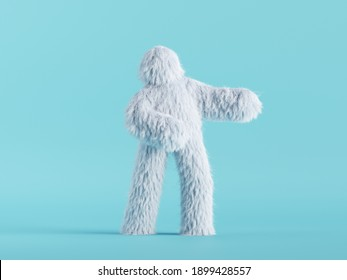 3d render, white hairy yeti stands, furry bigfoot toy, funny winter monster cartoon character isolated on mint blue background, standing pose