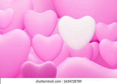 3d Render White heart shape among pink heart shapes