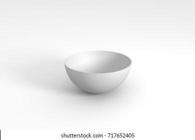 3d render of white hemisphere on gray background