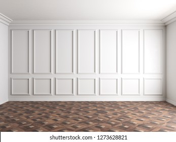 3d render of white interior with panels on wall 8k