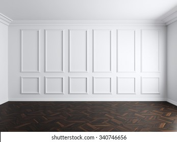 Bon 3d Render Of White Interior With Panels On Wall