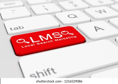3d render of a white keyboard with red LMS - local search marketing button.