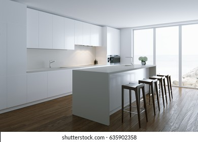 3d render white luxury  kitchen in white room in big villa