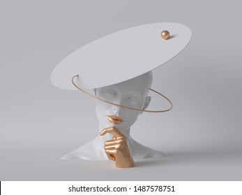 3d render, white mannequin woman head isolated on white background, golden hand, lady wearing unusual hat, fashion concept, shop display, body parts, clean minimal design