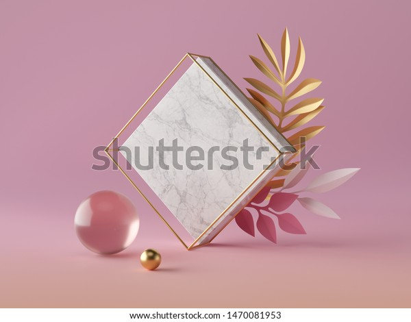 3d render, white marble rhombus shape, blank square banner mockup, simple geometrical objects isolated on rose pink background, abstract luxury concept, glass gold ball, paper palm leaves