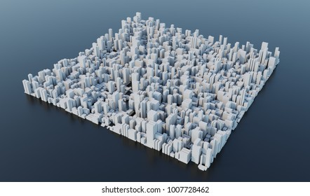 3D Render, White Modern city with Black background Aerial View