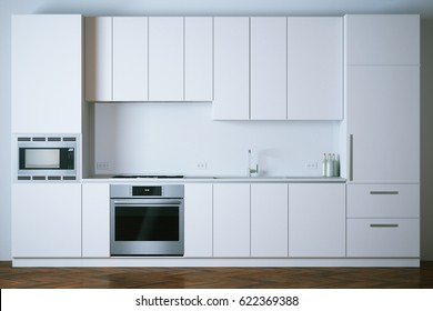 3d render white modern kitchen closeup
