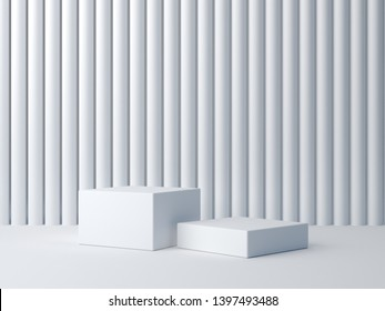 3d render. White shapes on white abstract background. Minimal box podium. Scene with geometrical forms and white textured wall. Empty showcase for cosmetic product presentation. Fashion magazine.