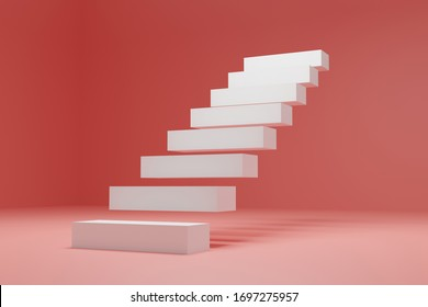 3D render, white stair on the air, in the pink room, success concept