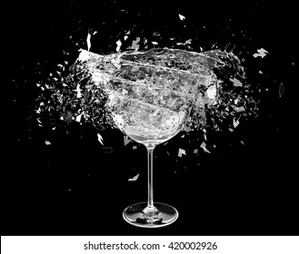 3d render wine pouring in breaking glass