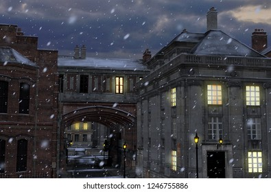 3D render of a winter street scene at night with 19th century city buildings