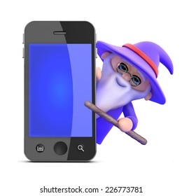 3d render of a wizard appearing from behind a smartphone