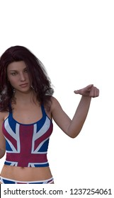 3D render woman dressed in the flag of the united kingdom with doubts about the brexit