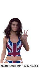3D render woman dressed in the flag of the united kingdom making the sign of victory