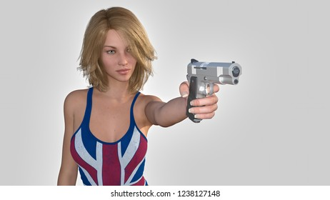 3D render woman dressed in the flag of the united kingdom pointing with a gun