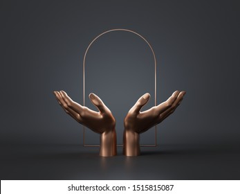 3d render, woman golden mannequin hands isolated on black background, open palms, gold art deco arch, blank frame, abstract concept, luxury minimal fashion mockup, simple clean design