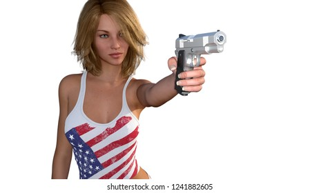 3D render Woman with gun gun dressed in flag of the United States of America