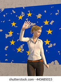 3D render of a woman turning away from a tattered EU poster on a brick wall. Depicting an emotional response to the BREXIT dilemma. depth-of-field and motion blur for dramatic effect.