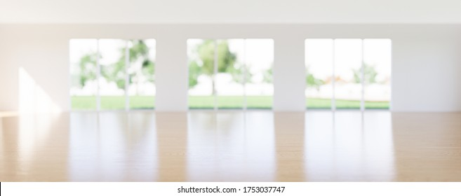 3d render of wood floor or wooden floor in perspective view for background. Empty room or house interior consist of wall and floor decor with wood texture. Soft focus at center floor for background.