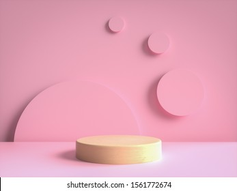3d render of wood podium in the pink scene geometric circle shape