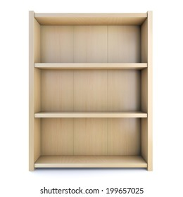 3d render of a wooden bookcase