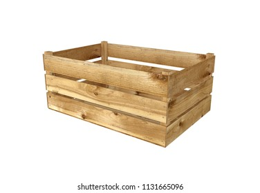 3D Render Of Wooden Box For Fruit Or Vegetable Isolated On White Background