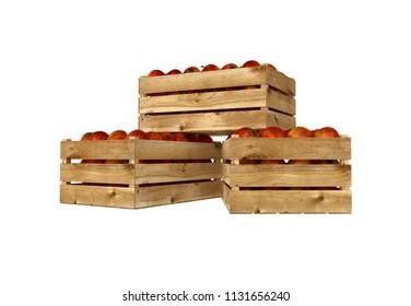 3D render of wooden box. Full of apples fruit. Isolated on white background.