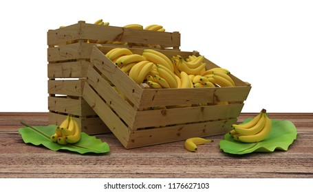 3D render. Wooden crates or boxes full of bananas place on wooden table. And banana leaf next to. Isolated on White.
