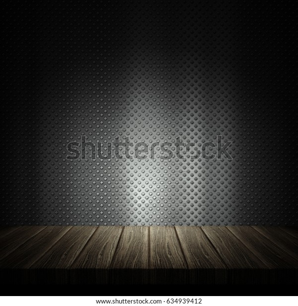 3D render of a wooden table against a metal wall