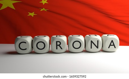 3D render of word CORONA with flag of China in background. Covid-19 virus spreding in China and rest of world.