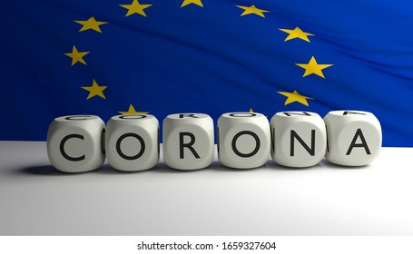 3D render of word CORONA with flag of European Union in background.