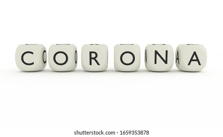3D render of word CORONA written on dices and isolated on white background. Covid-19 virus in China and rest of world.