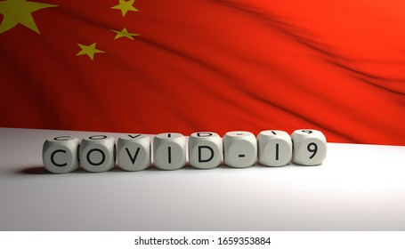 3D render of word COVID-19 with flag of China in background. Corona virus spreding in China and world.