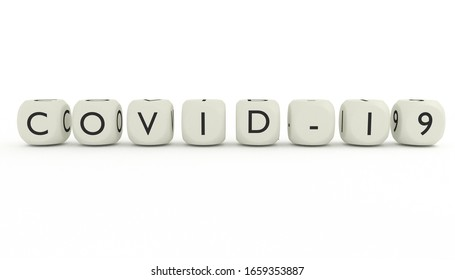 3D render of word COVID-19 isolated on white background. Coronavirus spreading in China and Asia