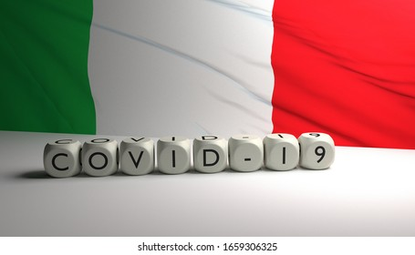 3D render of word COVID-19 with Italian flag in background.