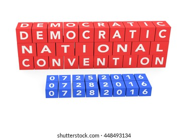3d render words Democratic National Convention with the date of the convention on a white background.