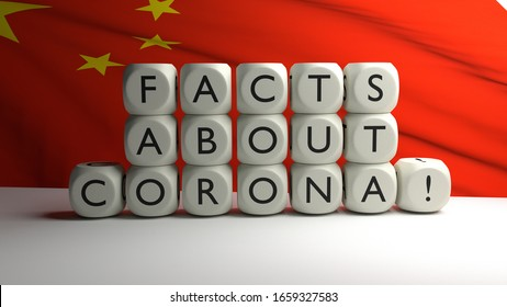 3D render - words FACTS ABOUT CORONA written on dices. Covid-19 in China and Asia