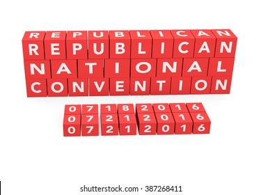 3d render words Republican National Convention with the date of the convention on a white background.