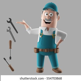 3d render worker man with set of tools