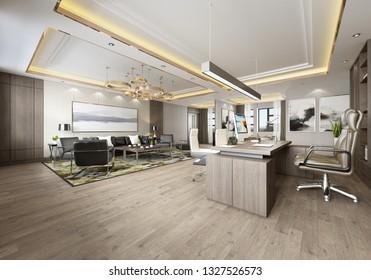 3d render working room