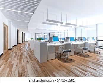 3d render of working space, open office
