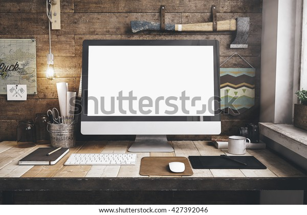 3d render of workspace mockup