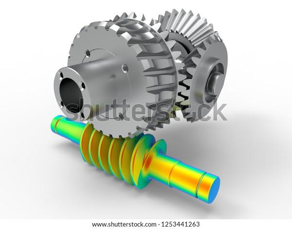 3d Render Worm Gear Stress Analyse Stock Illustration 1253441263