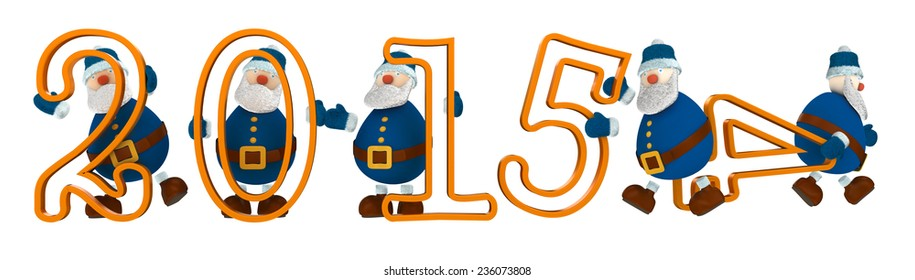 3D render with year 2015 with digits held by cartoony old men dressed in blue. The old man holding number four is leaving the scene and number five take his place.