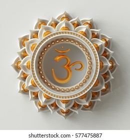 3d render, yellow abstract frame, chakra element isolated on white, esoteric symbol