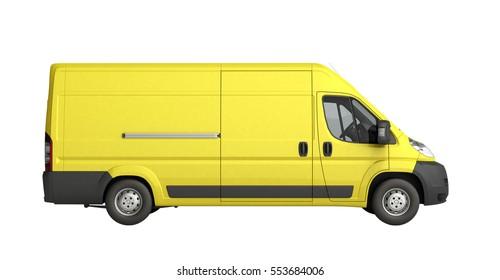 3d render Yellow Delivery Van Icon no shadow