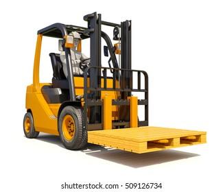 3d render: Yellow Forklift Truck Shot on White Background