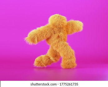 3d render, yellow furry beast cartoon character walking or dancing, isolated on pink background, active posing. Fluffy plush toy. Man wearing halloween costume of a hairy monster