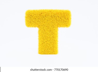 3d render yellow furry capital letter T on a white background.