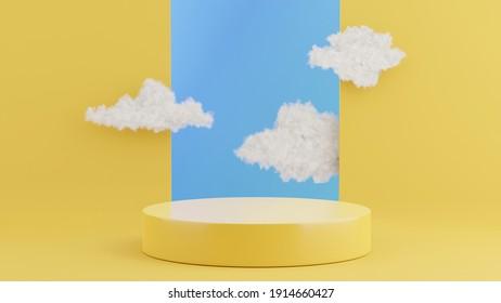 3d representación del podio amarillo con nubes para la visualización del producto